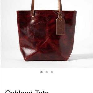 KMM and Co oxblood leather tote.